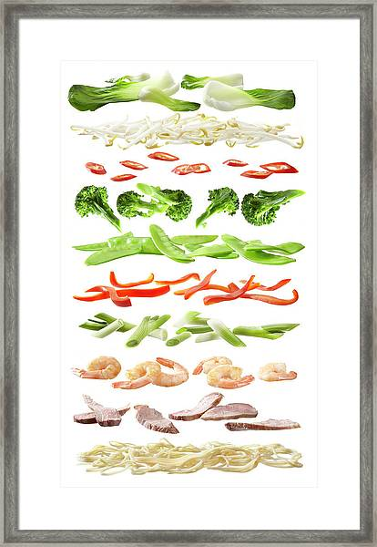 Stirfry Ingredients Separated Into Framed Print by Johanna Parkin