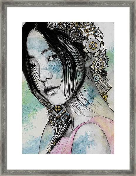 Stoic - Asian Girl Street Art Portrait With Mandala Doodles Framed Print