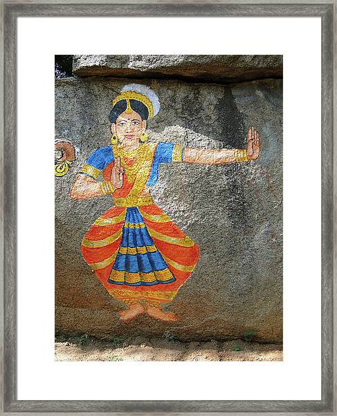 Stone Painting Of Nautch Dancing Gir Framed Print