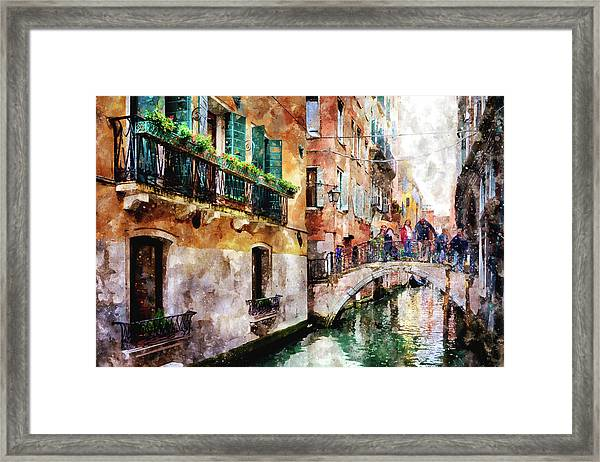 People On Bridge Over Canal In Venice, Italy - Watercolor Painting Effect Framed Print