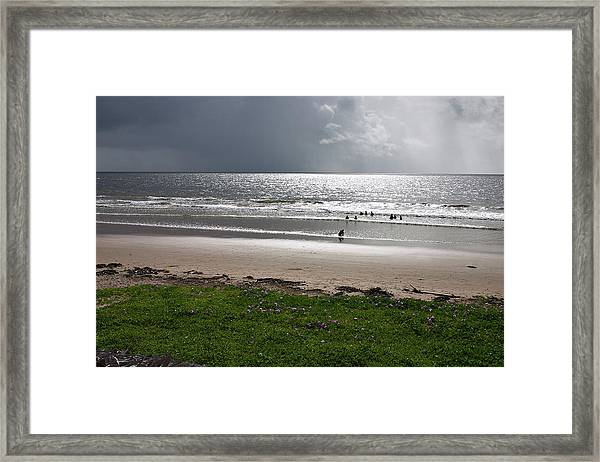 Storm Brewing Over The Sea Framed Print