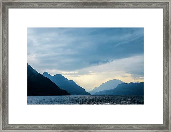 Storm Clouds On Lake Lucerne Framed Print