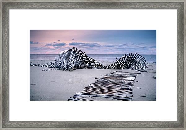 Storm Fence Sunrise Framed Print
