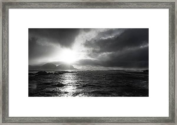 stormy coastline in northern Norway Framed Print