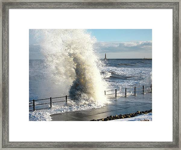 Stormy Sea And Breaking Wave Framed Print