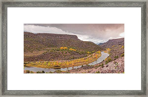 Stormy Skies Over The Rio Grande Del Norte At Orilla Verde - Taos County New Mexico Framed Print