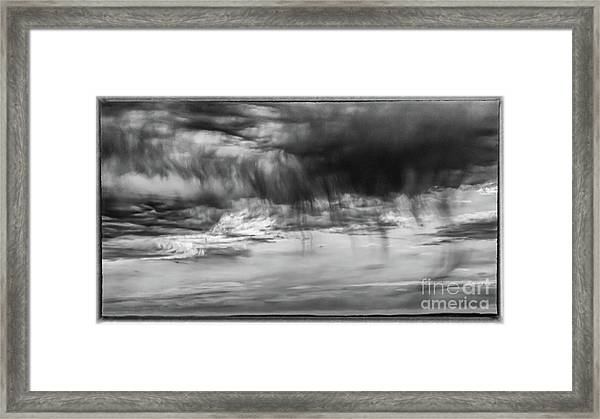 Stormy Sky In Black And White Framed Print