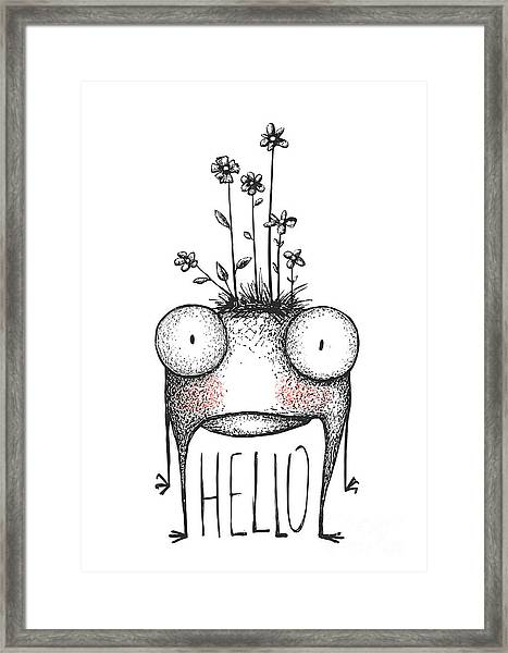 Strange Hand Drawn Monster With Flowers Framed Print