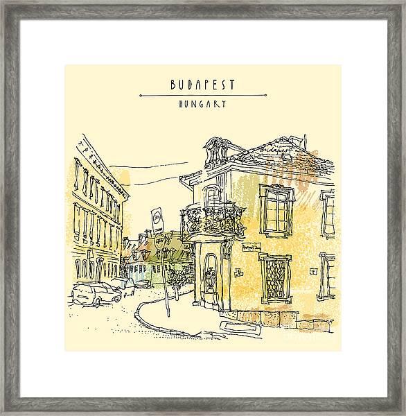 Street Corner In Budapest City Framed Print