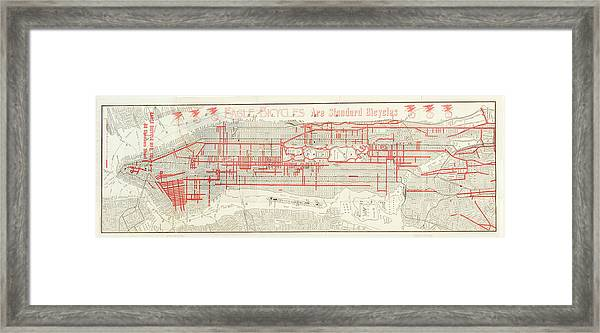 Street Map Of Manhattan And The Bronx Framed Print
