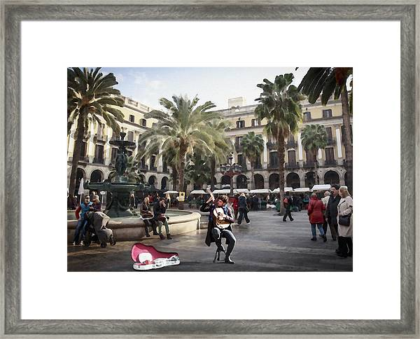 Street Music. Guitar. Barcelona, Plaza Real. Framed Print
