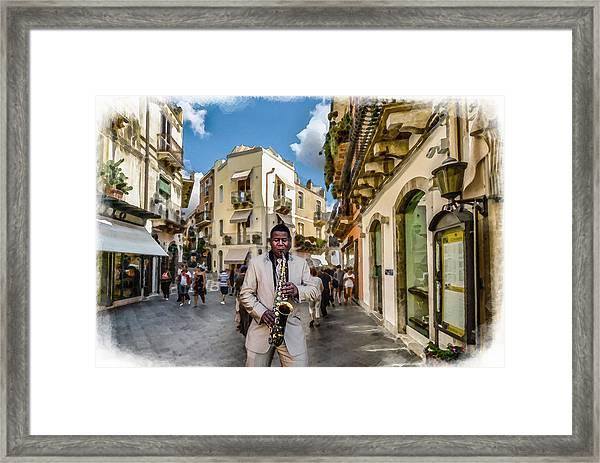 Street Music. Saxophone. Framed Print