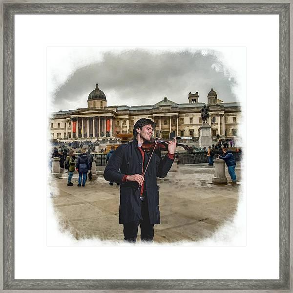 Street Music. Violin. Trafalgar Square. Framed Print