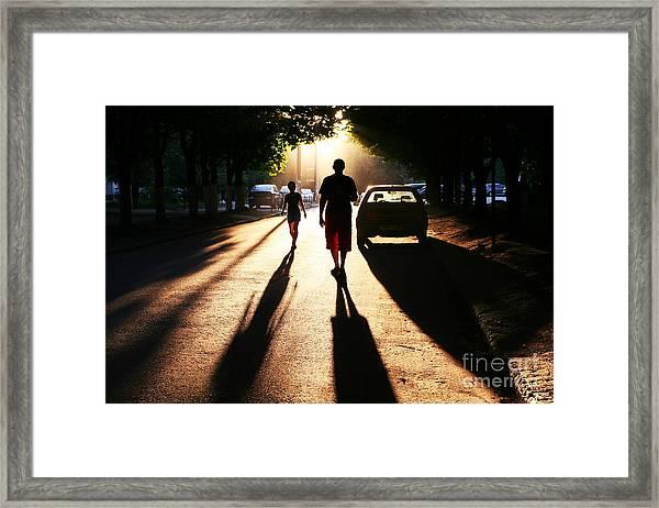 Street Scene On Sunset Framed Print
