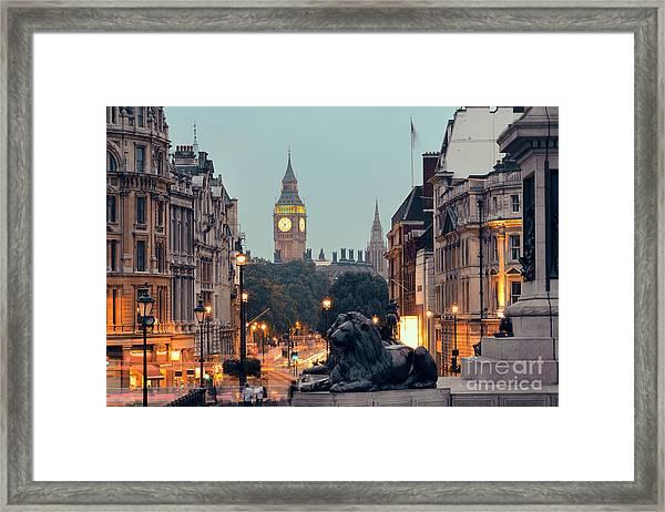 Street View Of Trafalgar Square At Framed Print