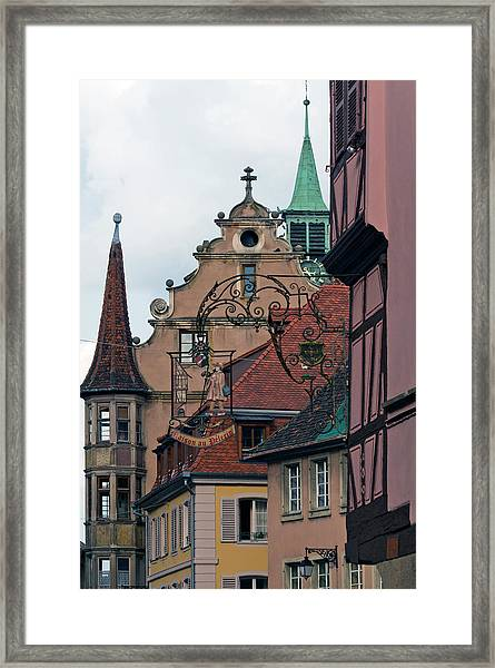 Street With Church Steeple Framed Print by John Elk Iii