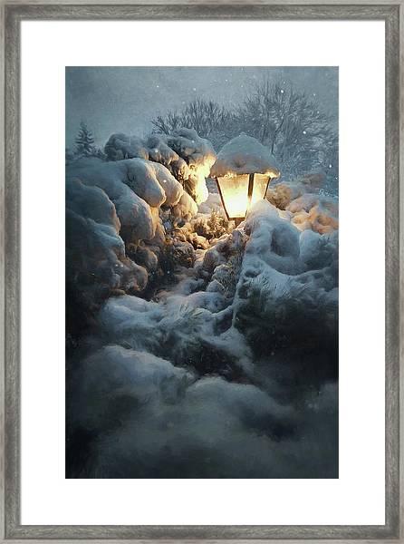 Streetlamp In The Snow Framed Print