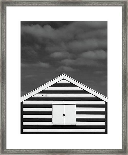 Stripes On Beach Hut Framed Print