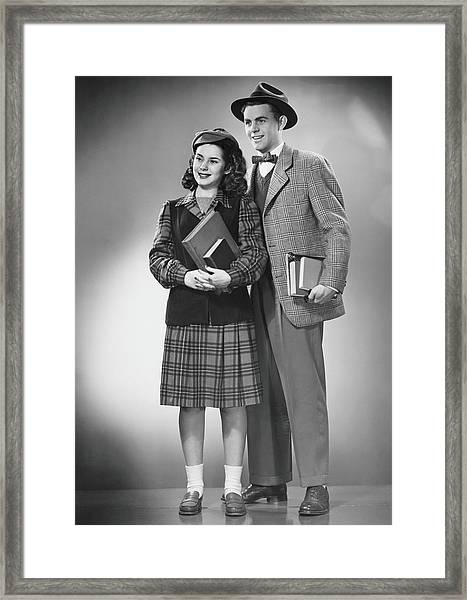 Student Couple Posing In Studio, B&w Framed Print by George Marks