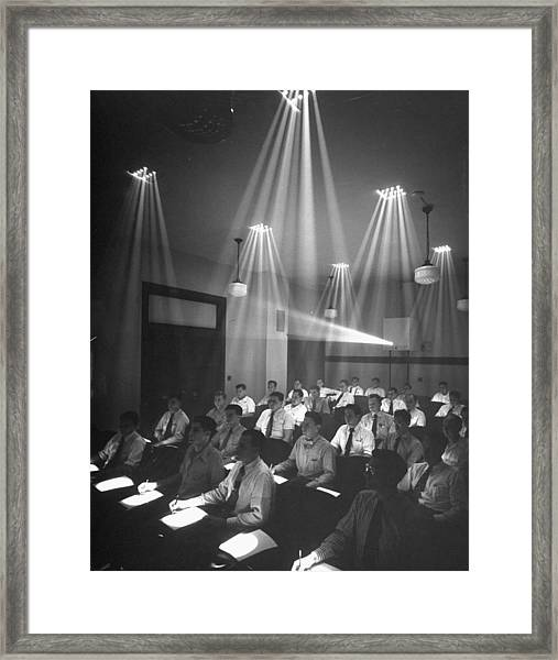 Students In Seats W. Individual Spotligh Framed Print