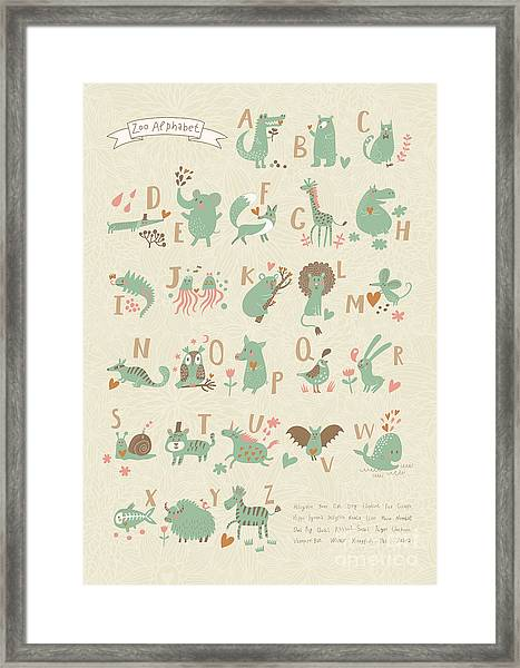 Stylish Zoo Alphabet In Vector. Lovely Framed Print by Smilewithjul