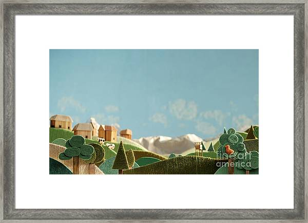 Stylized Alpine Landscape Made Of Wool Framed Print