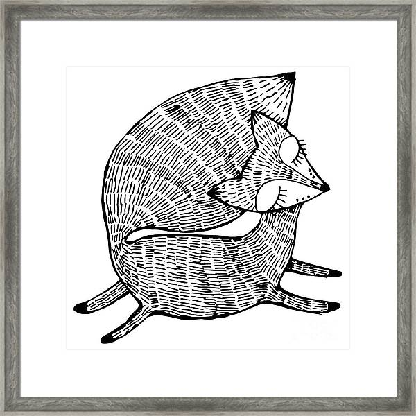 Stylized Fox. Forest Animals. Cute Fox Framed Print
