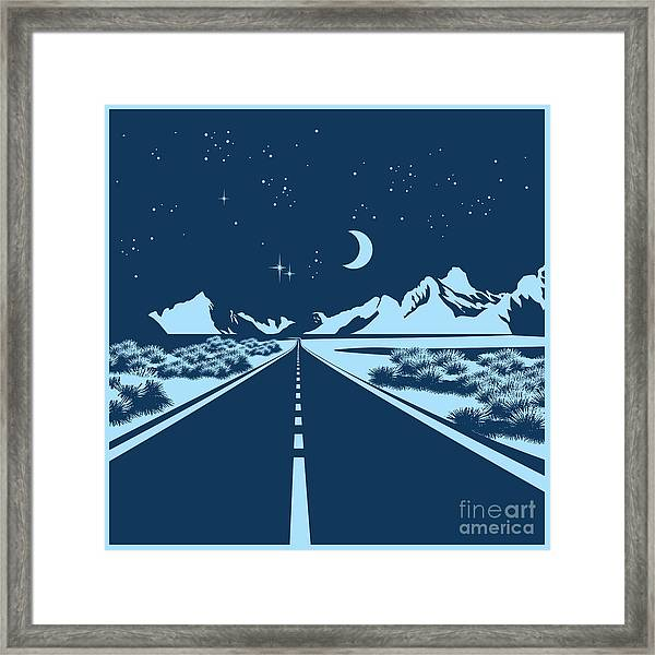 Stylized Vector Illustration Of A Night Framed Print