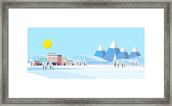 Suburban Buildings In Winter Landscape Framed Print