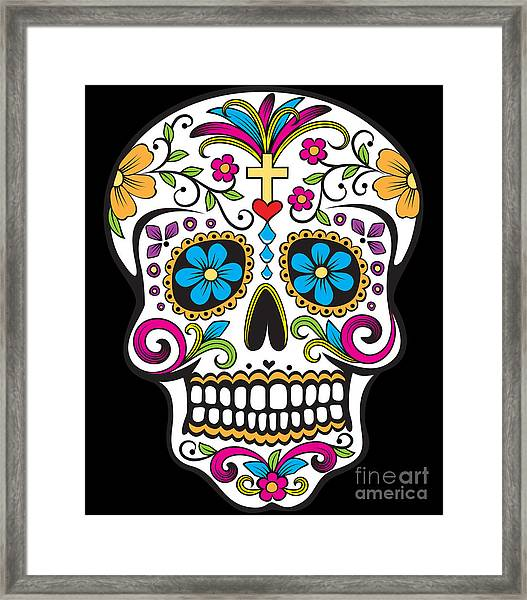 Framed Print featuring the digital art Sugar Skull Day Of The Dead by Flippin Sweet Gear
