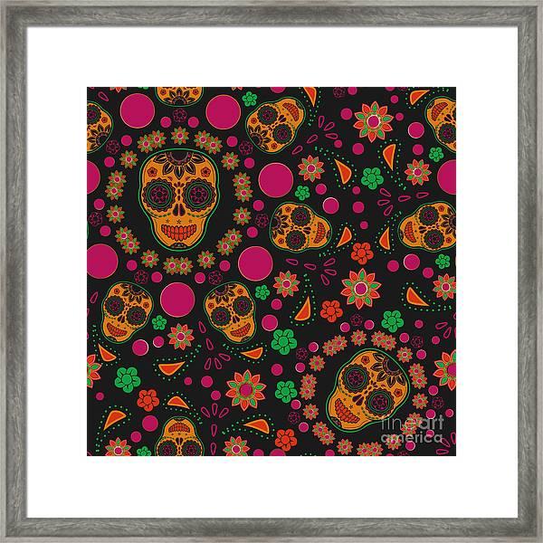 Sugar Skull Seamless Pattern Framed Print