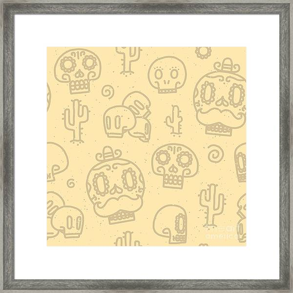 Sugar Skulls Sand Seamless Vector Framed Print by Dmitriylo