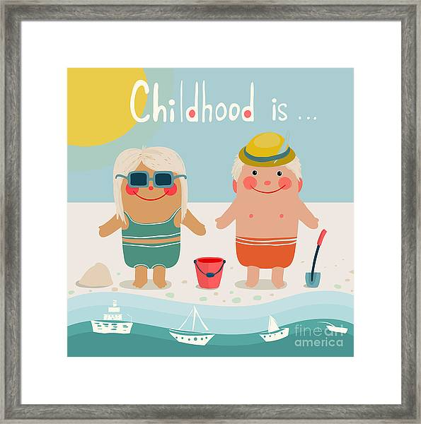 Summer Beach Children Friends Framed Print