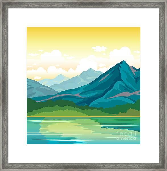 Summer Landscape - Blue Mountains With Framed Print