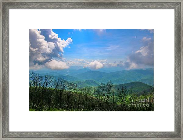 Framed Print featuring the photograph Summer Mountain View by Tom Claud