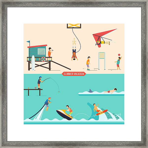 Summer Vacation People Set Framed Print