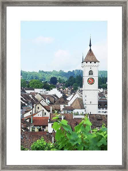 Summer View Of Schaffhausen Framed Print by Oks mit