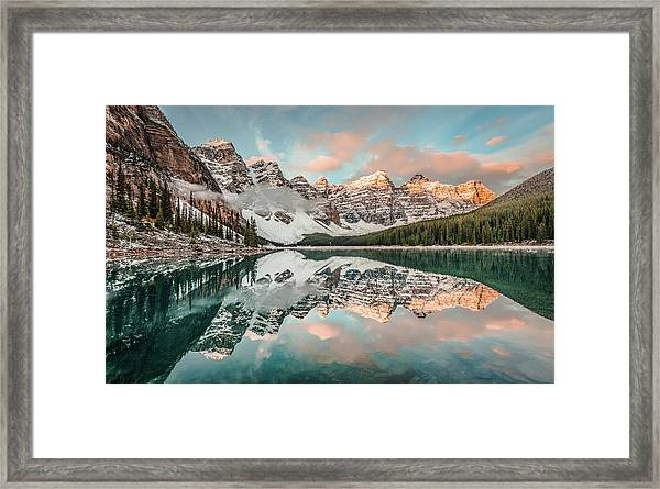 Sun-kissed Peaks Framed Print