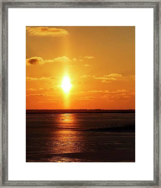 Framed Print featuring the photograph Sun Pillar 01 by Rob Graham