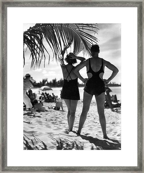 Sunbathing, Bermuda Framed Print
