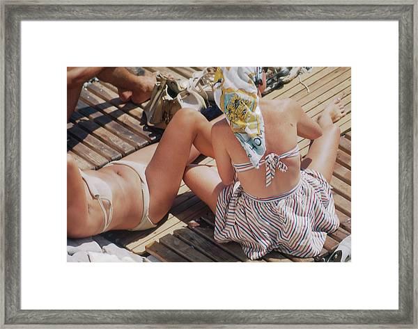 Sunbathing In Nice Framed Print by Michael Ochs Archives