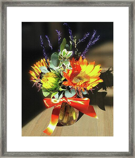 Sunflowers Fall Bouquet  Framed Print