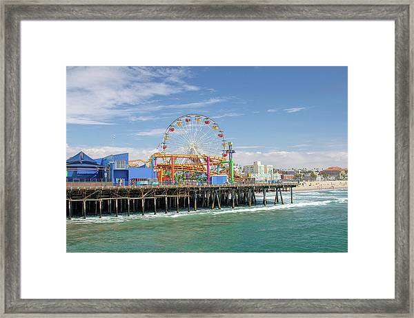 Sunny Day On The Santa Monica Pier Framed Print