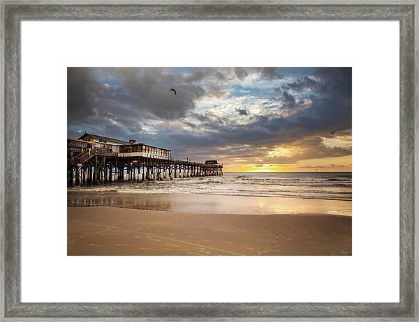 Sunrise At Cocoa Beach Pier Framed Print