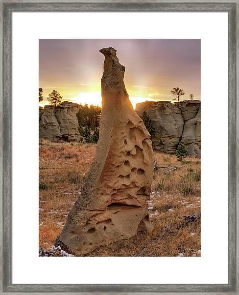 Sunrise At Medicine Rocks Framed Print