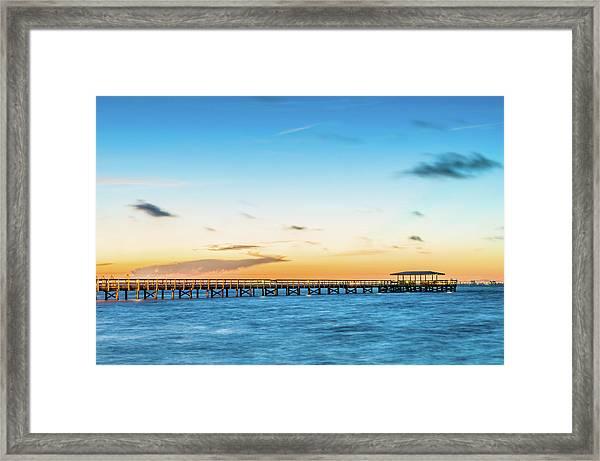 Sunrise At Safety Harbor Pier Framed Print