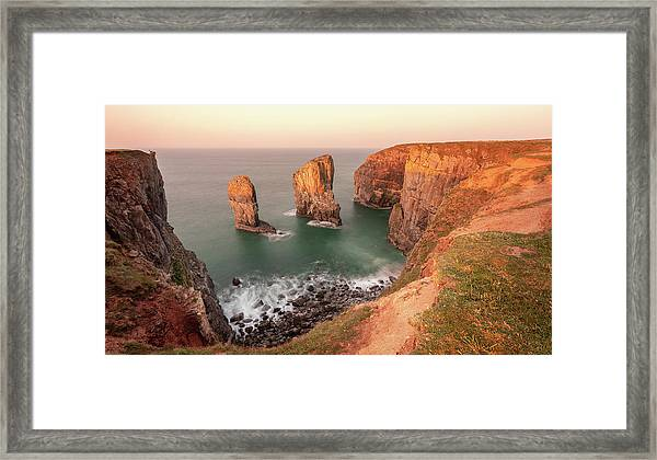 Framed Print featuring the photograph Sunrise At Stack Rocks by Elliott Coleman