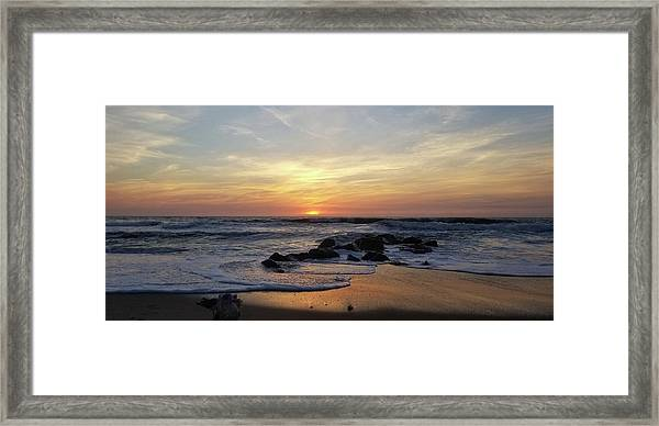 Sunrise At The 15th St Jetty Framed Print