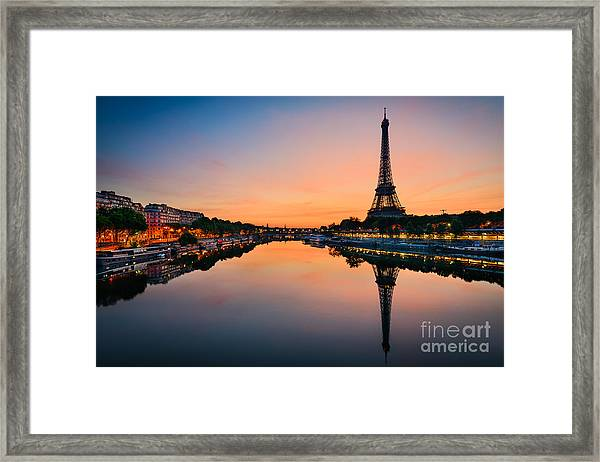 Sunrise At The Eiffel Tower, Paris Framed Print