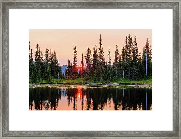 Sunrise From The Reflection Lake Framed Print